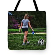 Girl Walking Dog Tote Bag by Paul Ward