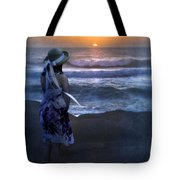 Girl Watching The Sun Go Down At The Ocean Tote Bag