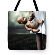 Girl With A Baby Doll Tote Bag