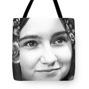 Girl With A Rose Veil 4 Bw Tote Bag