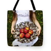 Girl With Apples Tote Bag