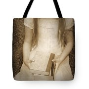 Girl With Books Tote Bag