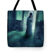 Girl With Candle In Doorway Tote Bag
