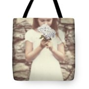 Girl With Hydrangea Tote Bag