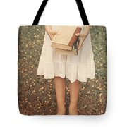 Girl With Old Books Tote Bag