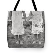 Girls Holding Hand On Beach Tote Bag by Michelle Quance