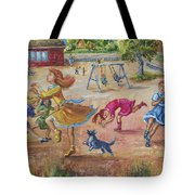 Girls Playing Horse Tote Bag
