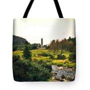 Glendalough Stream And Tower Tote Bag