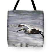 Gliding Snowy Egret Tote Bag