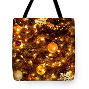 Glowing Golden Christmas Tree Tote Bag