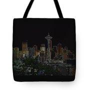 Glowing Seattle Skyline Tote Bag