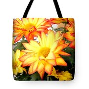 Gold And Red Autumn Mums Tote Bag