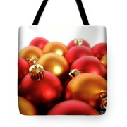 Gold And Red Xmas Balls Tote Bag