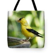 Gold Finch At The Bird Bath Tote Bag