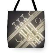 Gold Trumpet On Black Tote Bag