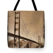 Golden Gate Bridge Sepia Tote Bag