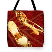 Golden Lattice Slingbacks On Royal Red Carpet Tote Bag