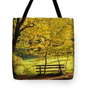Golden October - Bench And Yellow Trees In Fall Tote Bag