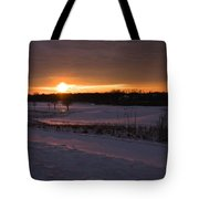 Golden Orange Winter Sunset Over The Golf Tote Bag