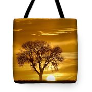 Golden Sunrise Silhouette Tote Bag