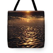 Golden Sunset On The Sand Beach Tote Bag by Setsiri Silapasuwanchai