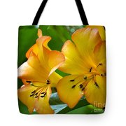 Golden Tropical Flowers Tote Bag