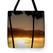 Golden Twin Palms Sunset Tote Bag