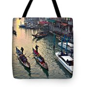 Gondolieri At Grand Canal. Venice. Italy Tote Bag