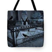 Gothic Surreal Night Gargoyle And Ravens - Moonlit Cemetery With Gargoyles Ravens Tote Bag