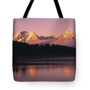 Grand Teton Mountains With Silhouetted Tote Bag