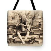 Granny Sitting On A Bench Knitting Ursinus College Tote Bag