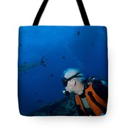 Gray Reef Shark With Diver, Papua New Tote Bag by Steve Jones