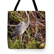 Great Blue Heron And Turtle Tote Bag