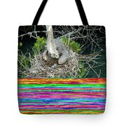 Great Blue Heron Ardea Herodias Nesting Tote Bag