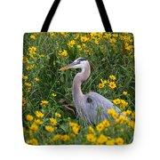 Great Blue Heron In The Flowers Tote Bag
