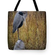 Great Blue Heron On Spool Tote Bag by Debra and Dave Vanderlaan