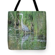 Great Blue Heron With Reflection Tote Bag