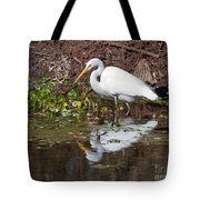 Great Egret Searching For Food In The Marsh Tote Bag