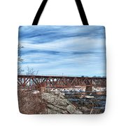 Great Falls Rr Bridge 10477c Tote Bag
