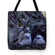 Great Horned Owl Twins Tote Bag