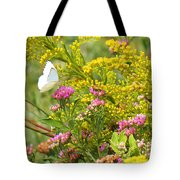 Great Southern White Butterfly Likes The Pink Flowers Tote Bag