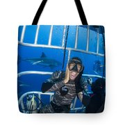 Great White Shark Behind Frightened Tote Bag
