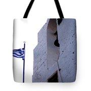 Greek Flag Flying Tote Bag