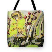 Green And Blue Weed Painting Tote Bag