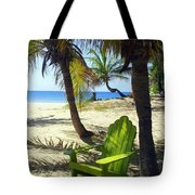 Green Chair On The Beach Tote Bag