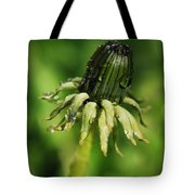 Green Flower Dew Drops Tote Bag