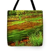 Green Forest River Tote Bag