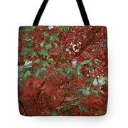 Green Leaves Against Red Leaves Tote Bag