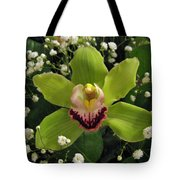 Green Orchid In Baby's Breath Tote Bag