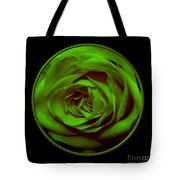 Green Rose On Black Tote Bag